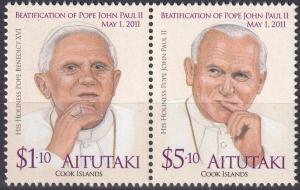 Aitutaki #580 MNH Pair  CV $10.50  (A19398)