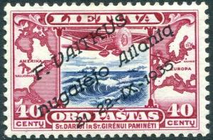 LITHUANIA-1935 Atlantic Flyer Vaitkus 40c Blue & Red Sg 407A 3 x experts