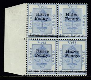 ORANGE FREE STATE — SCOTT 42b (SG 79) — 1896 ½d PEUNY IN MH BLOCK/4 — SCV $23.30