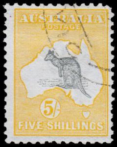 Australia Scott 12, Yellow & Gray (1913) Used F-VF, CV $260.00 M