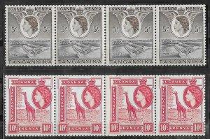 Kenya Uganda # 103,104 QE II COILS Paste-Up Strip/4  (2)   Mint NH