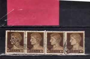 ITALIA REGNO ITALY KINGDOM 1929 - 1942 IMPERIALE CENT. 10 STRISCIA DI 4 USATA...