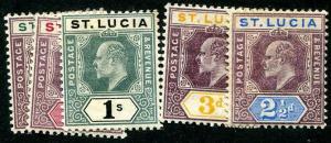 HERRICKSTAMP ST. LUCIA Sc.# 43-48 Mint Hinged Scott Retail $77.00