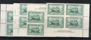 Canada #259 Very Fine Never Hinged Plate #1 Match Set Of Blocks