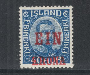 Iceland Sc 150 MOG. 1926 1k red surcharge on 40a blue King, HR, sound