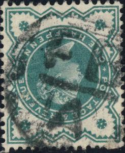 GB - ca.1900 London Foreign Branch Mute Cancel (A) on QV 1/2d blue-green SG 213