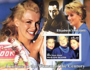 West Swan Island (Falkland) 2002 MARILYN MONROE/BASEBALL/Q.MOTHER/DISNEY SS MNH