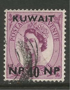 Kuwait 1957 - 58 QE2 40 np on 6d Wilding SG 128.( T608 )