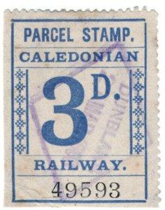 (I.B) Caledonian Railway : Parcel Stamp 3d (Dunblane)