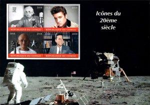 Congo 2018 Gandhi Einstein Kennedy Elvis Space 4v MNH S/S, Size:8.5x6. (L-167)