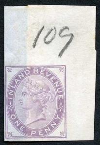 1d Lilac Postal Fiscal SGF20-22 Imprimatur Plate 109