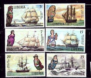 Liberia 608-13 MNH 1972 Ships and Figureheads    (ap4347)
