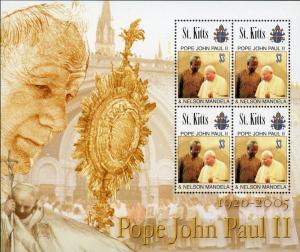 St. Kitts #637 Pope John Paul & Nelson Mandella MNH Sheet of 4