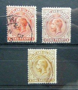 Falkland Islands King George V 1/2d 1d 1s Brown Used