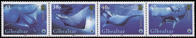 Gibraltar. 2006. Global Conservation - Manta Ray  (MNH OG) set of 4 stamps