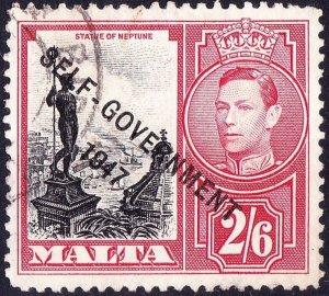 MALTA 1948 KGVI 2/6 Black & Scarlet SG246 FU