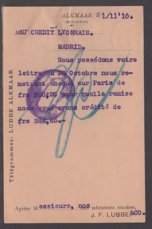 *Netherlands Postal Card SC# 65 To Spain