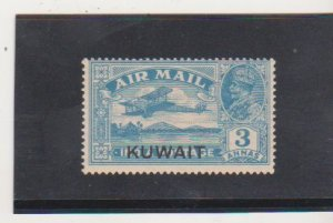 KUWAIT SCOTT # C2 1933-34 3A INDIA AIR POST STAMP OVERPRINTED KUWAIT MINT XLH