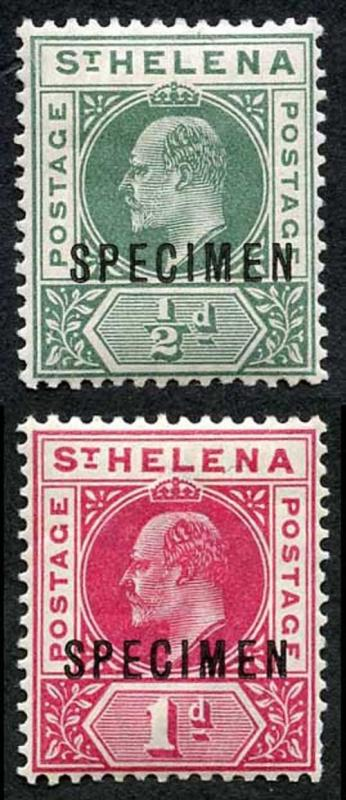 St Helena SG53/4s KEVII Set of 2 opt SPECIMEN M/Mint