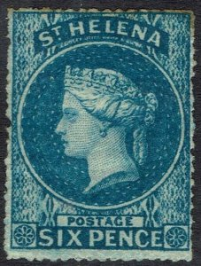 ST HELENA 1861 QV 6D ROUGH PERF 14-16