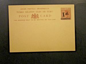 Turks Islands Victoria Postal Card 1d Ovpt on 1/2d - Unused - Z4796