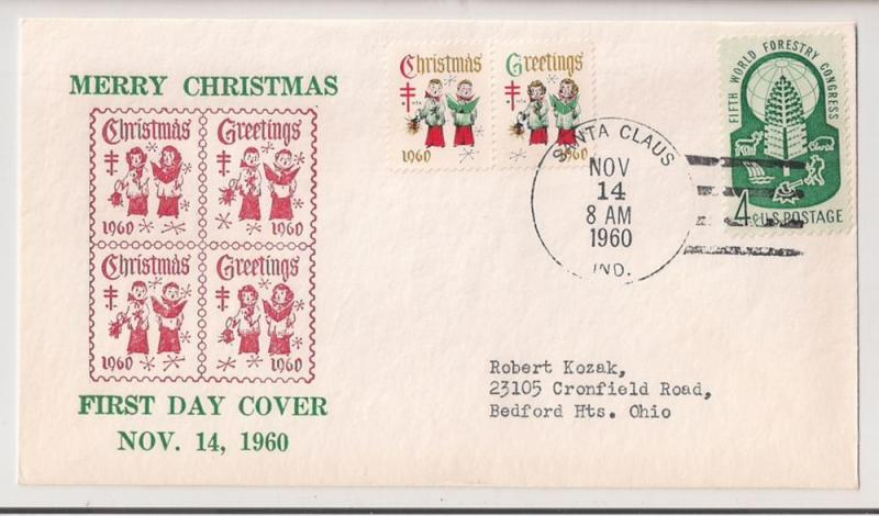 SANTA CLAUS IND FDC for WX204 (pair) 1960 Christmas Seal