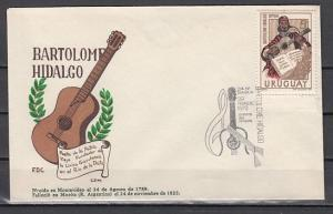 Uruguay, Scott cat. 820. Musician & Poet issue on a First day cover.