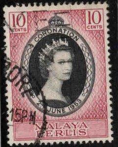 MALAYA  Perlis  Scott 28 Used Coronation QE2 1953
