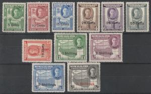 SOMALILAND PROTECTORATE 1951 KGVI SURCHARGE SET