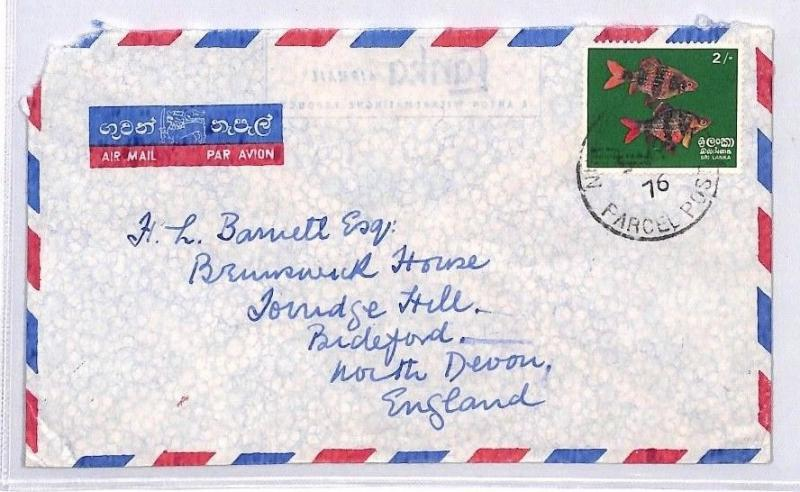 BQ76 1976 Sri Lanka Devon Great Britain Airmail Cover {samwells} PTS