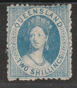 QUEENSLAND 1880 QV CHALON 2/- LITHOGRAPHED