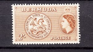 J26606 JLstamps 1953-8 bermuda mnh #158, 2sh queen