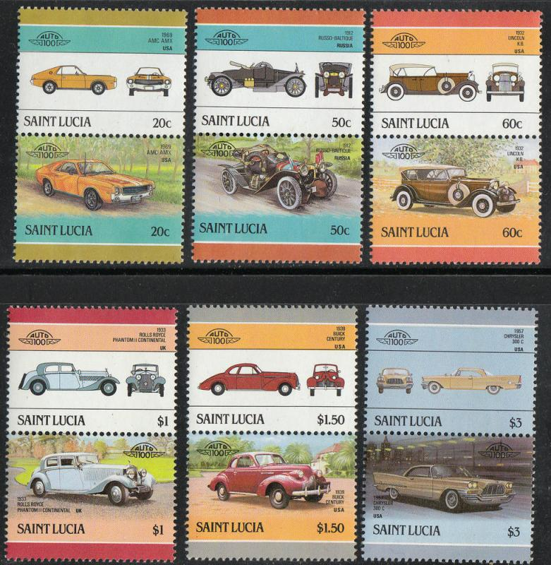 St. Lucia MNH 850-5 Pairs Automobiles 1983 SCV 3.50