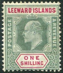 LEEWARD ISLANDS-1902 1/- Green & Carmine Sg 26 MOUNTED MINT V33894