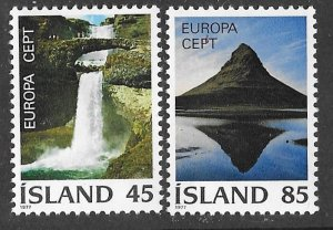 Iceland # 498-99  Europa  Scenic Views  1977  (2)  Mint NH