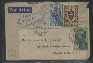 CAMEROUN COVER (P0404B) 1949  6F HORSEMAN+10F+20F REG LUM A/M TO USA