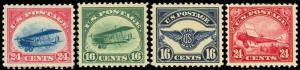 C2-C6, FOUR AIRMAIL STAMPS - VF-XF LH/H Cat $285.00