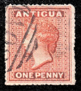 Antigua 1867 1d vermilion wmk star rough perf SG 7 used CV £30