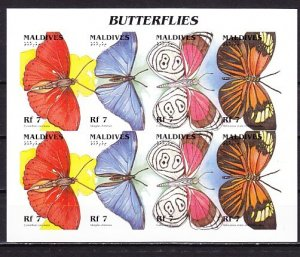 Maldive, New item. Butterflies sheet of 8, IMPERF issue. ^