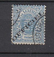 J25799  jlstamps 1875-6 luxembourg used #o18 ovpt perf 13