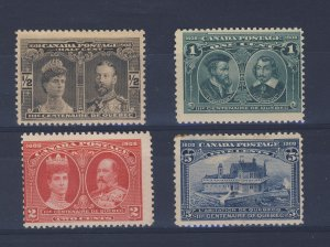 4x Canada 1908 Quebec Stamps #96-97-98-MNH #99-5c M POB Guide Value= $90.00