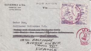 Bolivia to England, Fwd to France, 1938, Airmail, See Remark (21570)