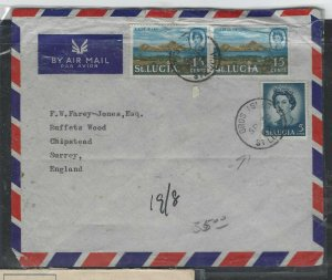 ST LUCIA COVER (P0405B)  1967 QEII 15C PR+5C GROS ISLET A/M TO ENGLAND