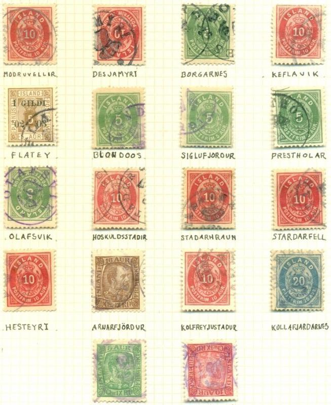 ICELAND CANCELS on pgs incl. 3-ring, Provincial, C&PH, Manuscript - 117 items