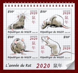 NIGER - 2019 - Year of the Rat 2020 - Perf 4v Sheet - MNH