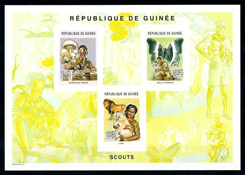 [95673] Guinea 2004 Scouting Mushrooms Butterfly Lions Imperf. Sheet MNH