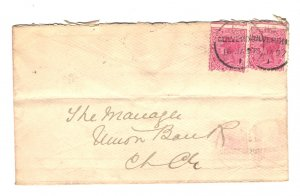 New Zealand Sc#61 x 2 Used on Cover to Union Bank of Australia 1897