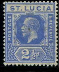 St Lucia SC# 81 KGV 3d MH wmk 4 with mount bright blue