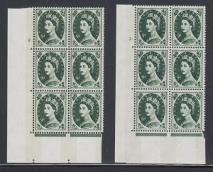 Great Britain SG 617c MNH. 1966 9p Wilding Cylinders no. 2, 2., Blocks of 6