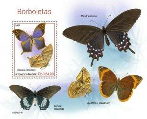 St Thomas - 2021 Caerois Chorineus Butterflies - Stamp Souvenir Sheet ST210214b